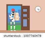 robot courier delivering ... | Shutterstock .eps vector #1007760478