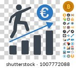 euro business growth icon with...