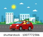 red car on the road in urban...   Shutterstock .eps vector #1007772586