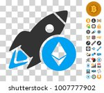 ethereum rocket pictograph with ...