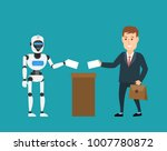 businessman and robot android...   Shutterstock .eps vector #1007780872