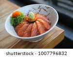 salmon sushi don on wood... | Shutterstock . vector #1007796832