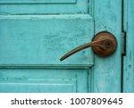 Old Blue Wooden Door With Door...