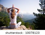 young woman practicing yoga in... | Shutterstock . vector #10078123