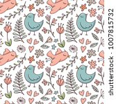 seamless pattern with birds and ... | Shutterstock .eps vector #1007815732