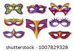 mardi gras mask set  design... | Shutterstock .eps vector #1007829328
