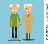 two elderly men standing... | Shutterstock . vector #1007849626