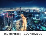 colourful nighttime skyline of... | Shutterstock . vector #1007852902