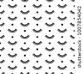 seamless pattern with eyelashes.... | Shutterstock .eps vector #1007854042