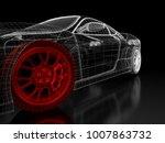 car vehicle 3d blueprint mesh... | Shutterstock . vector #1007863732