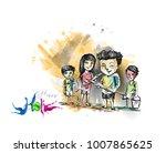 holi celebrations   boy's... | Shutterstock .eps vector #1007865625