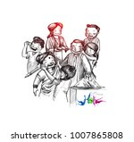 holi celebrations   boy's... | Shutterstock .eps vector #1007865808