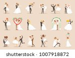 newlyweds posing and dancing on ... | Shutterstock .eps vector #1007918872