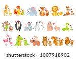 Stock vector small animals and their moms illustration set 1007918902