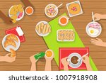 people eating different... | Shutterstock .eps vector #1007918908
