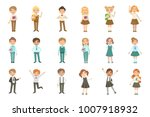 boys and girls wearing an... | Shutterstock .eps vector #1007918932
