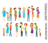 set of young families. cartoon... | Shutterstock .eps vector #1007919052