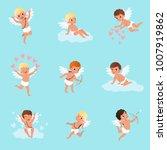set of cute cupid boys in... | Shutterstock .eps vector #1007919862