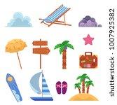 vector flat summer beach...   Shutterstock .eps vector #1007925382