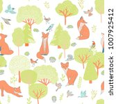 forest seamless pattern with... | Shutterstock .eps vector #1007925412