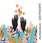 spring love card with hands ... | Shutterstock .eps vector #1007934595