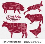 animal farm set. cut of beef ... | Shutterstock .eps vector #1007934712