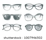 set of eyeglasses and...