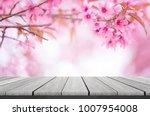 wood shelf on beautiful pink... | Shutterstock . vector #1007954008