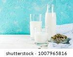 vegan alternative food  pumpkin ... | Shutterstock . vector #1007965816