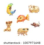 watercolor pets  little cute... | Shutterstock . vector #1007971648
