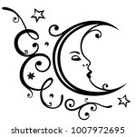 feminine moon with ornament and ... | Shutterstock .eps vector #1007972695