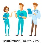 male and female doctors ... | Shutterstock .eps vector #1007977492