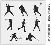 vector set of sport players... | Shutterstock .eps vector #1007993692