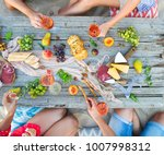 top view beach picnic table.... | Shutterstock . vector #1007998312