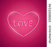 pink love in the heart neon...   Shutterstock .eps vector #1008005146