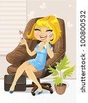 girl happily tells on the phone ... | Shutterstock .eps vector #100800532