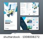 tri fold brochure design. blue... | Shutterstock .eps vector #1008008272