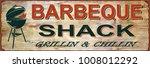 vintage bbq metal sign. | Shutterstock .eps vector #1008012292