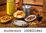 different spanish tapas and... | Shutterstock . vector #1008021862
