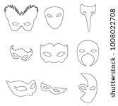 9 Carnival Mask Set In Outline...