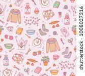 hygge cozy seamless pattern | Shutterstock .eps vector #1008027316