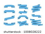 Vector Blue ribbons set. Elements isolated on white background | Shutterstock vector #1008028222