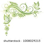 green flowers with butterflies. ... | Shutterstock .eps vector #1008029215