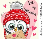 valentine card with cute... | Shutterstock .eps vector #1008031636
