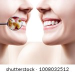 female smile before and after... | Shutterstock . vector #1008032512