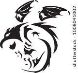 vector black dragon flying and...   Shutterstock .eps vector #1008041002