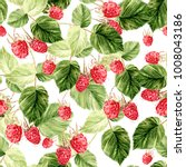 beautiful watercolor raspberry... | Shutterstock . vector #1008043186