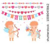 vector cute cartoon cupids and... | Shutterstock .eps vector #1008045862