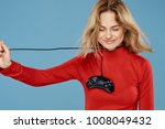woman smiling neck in the wire...   Shutterstock . vector #1008049432