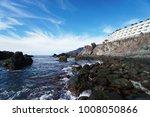 resort town on rocky coast of... | Shutterstock . vector #1008050866
